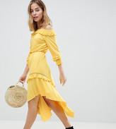 Asos DESIGN Petite Off Shoulder Shirred Cuff Midi Tea Dress