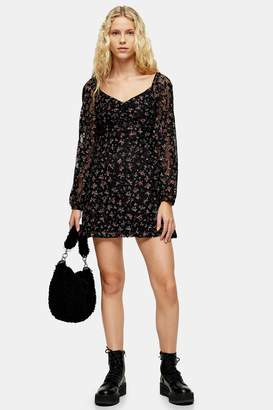 Topshop Womens Tall Floral Lace Gypsy Mini Dress - Black