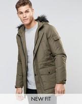 Asos Parka Jacket In Khaki With Faux Fur Trim