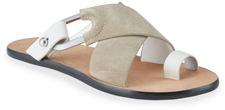 Rag & Bone August Suede Toe-Ring Flat Slide Sandals