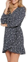Thumbnail for your product : Only Carly Black/ White Long Sleeve Wrap Dress