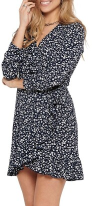 Only Carly Black/ White Long Sleeve Wrap Dress