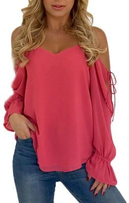 TUDUZ Newest Creative Design Women Elegant Sexy Off Shoulder Strapless Bandage Jumper T-Shirt Fashion Casual Long Sleeve Shirt Tops Blouse (Hot Pink L)