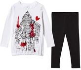 Fun & Fun White Fashion Girl Print Dress and Leggings Set
