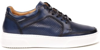 Eleventy Blue Perforated Leather Sneaker