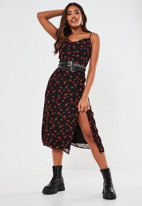 Missguided Floral Print Cami Cowl Slip Dress