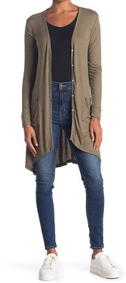 Bobeau Button Front Ribbed Knit Cardigan