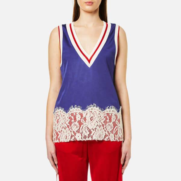 MM6 MAISON MARGIELA Women's VNeck Lace Bottom Sleeveless Top - Worker Blue Cali Co/Red Rib