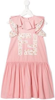 Fendi Kids Flower Logo Jersey Dress