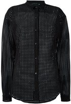 Anthony Vaccarello mesh button down shirt - women - Polyester/zamac - 38