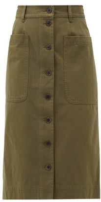 Sea Corbin Buttoned Cotton-blend Skirt - Womens - Khaki
