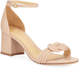 Alexandre Birman Malica Knot Block-Heel Leather Sandals