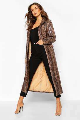 boohoo Snake Print Faux Leather Trench
