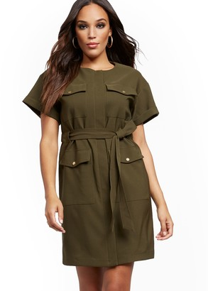 New York & Co. Olive Belted Utility Dress