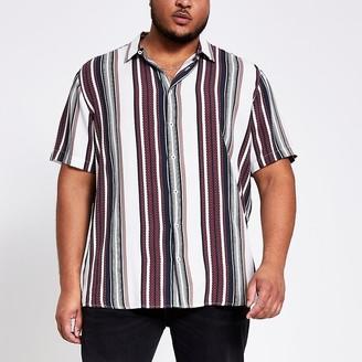 River Island Big and Tall white stripe slim fit shirt