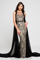 Terani Couture 1723E4287 Gilded Leaf Embroidered Gown with Cape