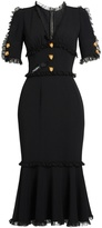 Dolce & Gabbana Lace-trimmed cady midi dress