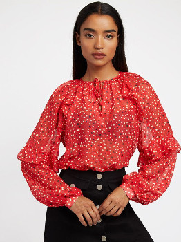 Louche Red Alba Cupid Blouse - UK 10