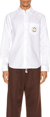 Gucci Band Embroidered Cotton Shirt in White | FWRD