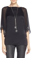 St. John Sequined Luxe Satin Crepe Top