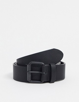 ASOS DESIGN wide belt in black faux leather with matte black roller buckle