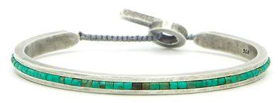 M. Cohen Square Bangle Cuff with Turquoise Beads