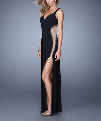 La Femme Women's Special Occasion Dresses Black - Black Sheer Beaded Side-Slit V-Neck Gown - Women