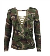 eronde Women's T Shirt Long Sleeve Camouflage Print Lace Up Deep V Sexy Design Loose Blouse