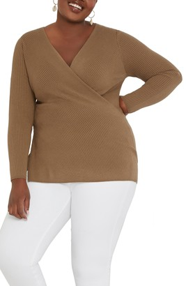 ELOQUII Ribbed Cross Front Sweater