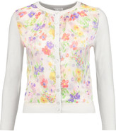 Oscar de la Renta Printed silk-satin and wool, silk and cashmere-blend cardigan