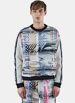 James Long Men's Multi-coloured Woven Front Sweater In Multicolour