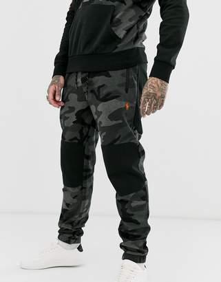 Polo Ralph Lauren tapered jogger in black camo with polo leg logo
