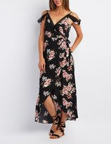 Charlotte Russe Floral Lace-Trim Cold Shoulder Wrap Dress