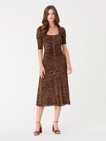 Diane von Furstenberg Abra Ruched Mesh Midi Dress