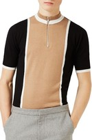Topman Men's Zip Neck Short Sleeve Sweater