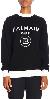 Balmain Crewneck Sweater With Maxi Paris Jacquard Logo