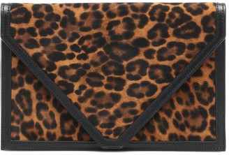 Hunting Season The Envelope leopard-print leather-trimmed clutch