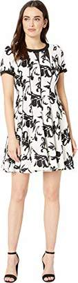 Taylor Dresses Women's Short Sleeve Abstract Print Fit and Flare Dress