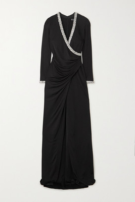 HANEY Tatum Ruched Wrap-effect Crystal-embellished Crepe Gown - Black