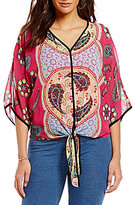 Multiples Border Print Tie Waist Top