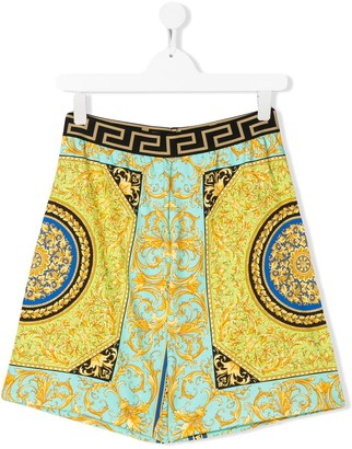 Versace TEEN baroque-print pull-on shorts
