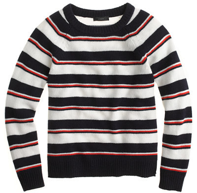 J.Crew Collection cashmere shrunken stripe sweater
