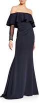 Jovani Off-the-Shoulder Sheer Long-Sleeve Gown w/ Flounce Popover