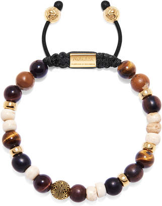 Nialaya Men Beaded Bracelet with Brown Tiger Eye, Red Tiger Eye, Jasper, Ebony and Bone Beads