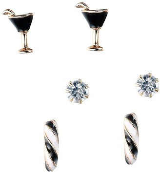 Gold Tone Hand Painted Black & White Sparkly Crystal Stud Earrings Set, Martini Glass & Hoopby JADA Collections
