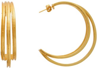 Carousel Jewels Large Triple Line Gold Hoops