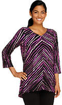 Bob Mackie Painterly Stripe V-neck Top withHi-Low Hem