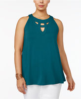 INC International Concepts Plus Size Cutout Halter Top, Only at Macy's