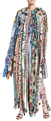 Stella McCartney Mixed Print Fabric Strip Long-Sleeve Maxi Dress