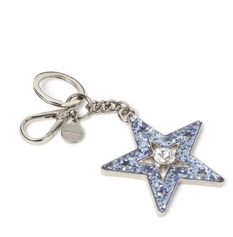 Jimmy Choo LOVIE Sky-Blue and Silver Galactica Glitter Acrylic Key Ring
